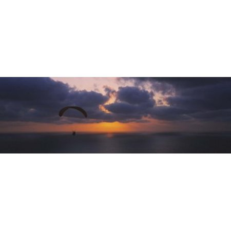 Silhouette of a person paragliding over the sea Blacks Beach San Diego California USA Canvas Art - Panoramic Images (36 x 12)