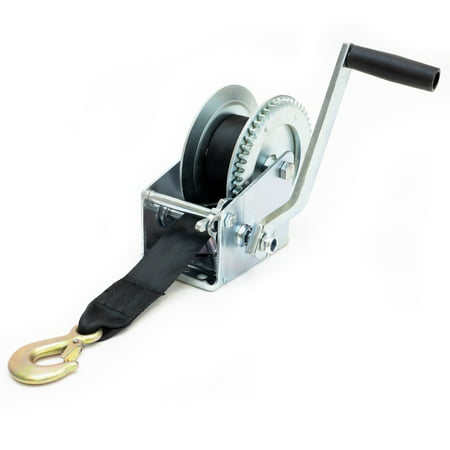 - Driver Recovery Manual Hand Crank Trailer Winch with Hook and 20' Strap - Heavy Duty 1,500 Pound Capacity