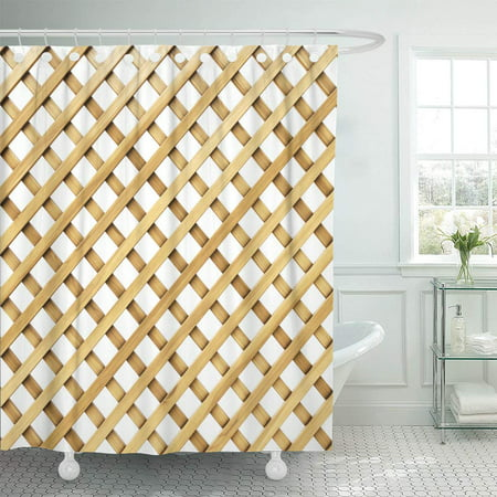 KSADK Beige Wood Wooden Lattice Brown Fence Wall Cross Panel Abstract Board Grain Shower Curtain Bathroom Curtain 66x72 inch