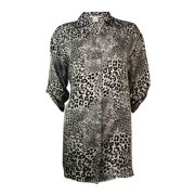 Alfani Women's Roll-Tab Animal Print Charmeuse Sleepshirt (XS, Grey)