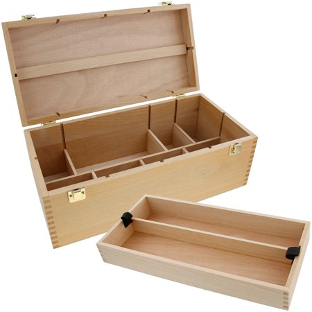 US Art Supply® Artist Wood Pastel, Pen, Marker Storage Box with Drawer(s) (Large Tool - Art Storage