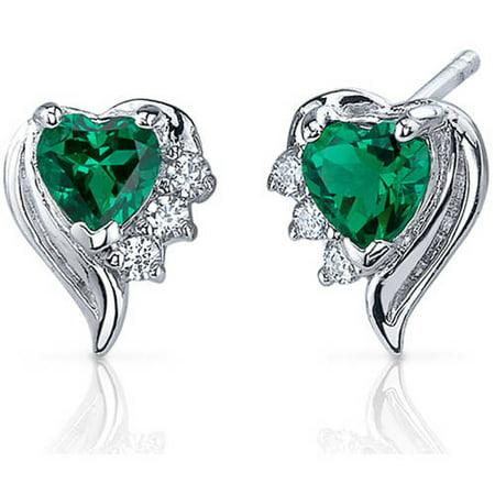 1 ct Heart Shape Green Simulated Emerald Stud Earrings in Sterling Silver Green Stud Earring Box