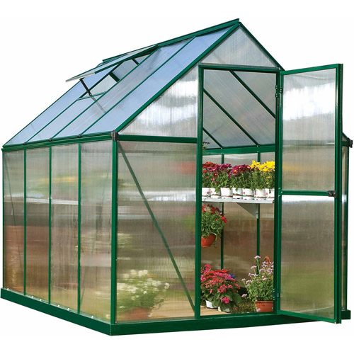 Palram Nature Series Mythos 6' x 8' Hobby Greenhouse, Forest Green (Box 1 of 2) by Palram