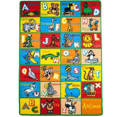 - Kids Rug Alphabet Animals 5' X 7' ABC Fun Learning Carpet (59