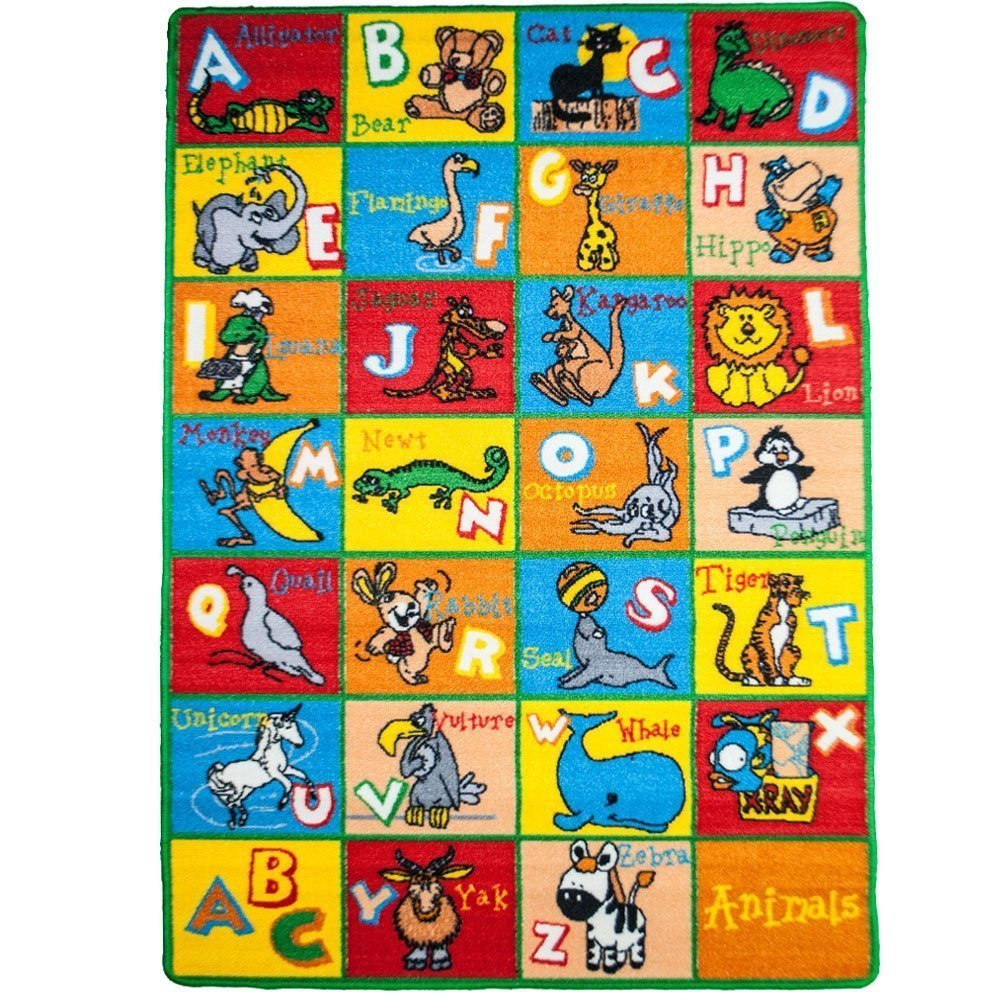 "Kids Rug Alphabet Animals 5' X 7' ABC Fun Learning Carpet (59"" x 82"")"