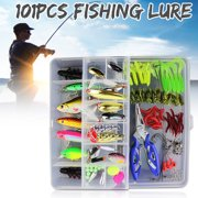 101Pcs Fishing Lures Set Soft and Hard Crankbaits Tackle Hooks with 2-layer Box Sports & Outdoors Fishing Equipment