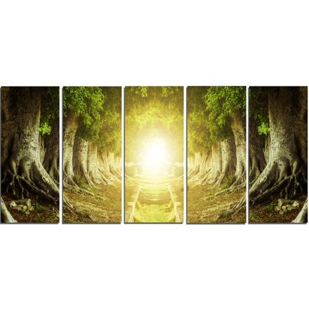 Design Art Green Tree Tunnel 5 Piece Wall Art on Wrapped Canvas Set