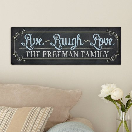 Personalized Chalkboard Live Laugh Love Canvas, Available in 2 Sizes](Natural Canvas)