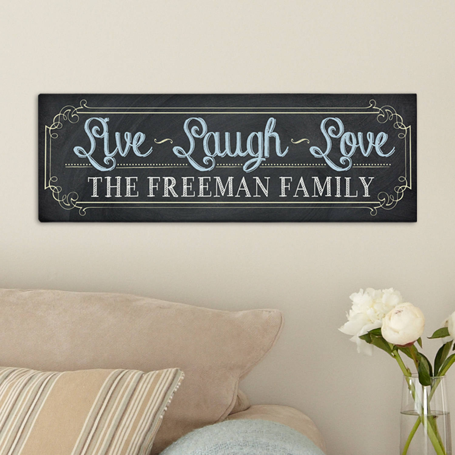 Personalized Chalkboard Live Laugh Love Canvas, Available in 2 Sizes
