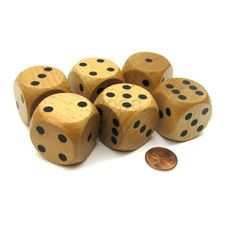 Striped Dice Wooden Set (Koplow Games Set of 6 D6 Large Jumbo 30mm Rounded Wood Dice - Wooden with Black Pips #02173)