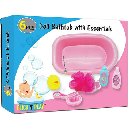 Click N' Play 6 Piece Baby Bathtub Doll Pretend Play Set with Accessories.