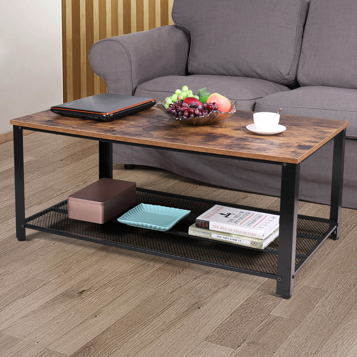 Jaxpety 2 Tier Tail Wood Coffee, Tables For Living Rooms