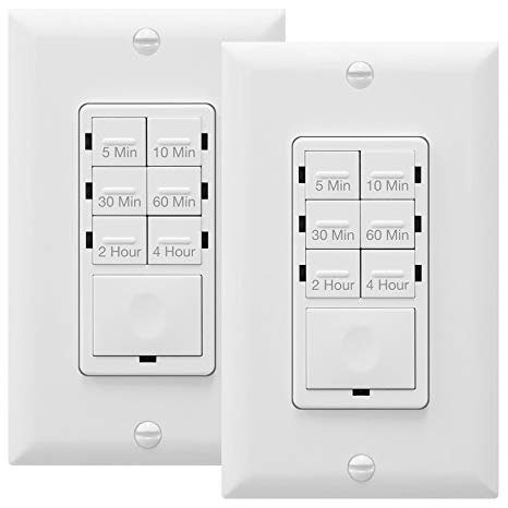 Enerlites Countdown Timer Switch Fan Switch Timer Wall Timer Switch Light Timer Switch Bathroom Timer Switch 5 Min 4 Hrs Night Light Led Indicator Neutral Wire Required Het06 White 2 Pack