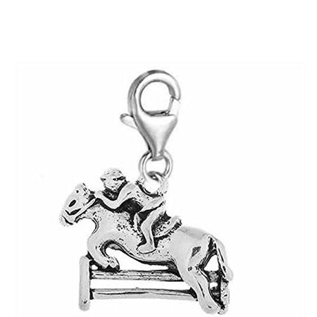 Horse Charm Jewelry - Jockey on Horse Jumping Over Fence Clip on Charm Jewelry with Lobster Clasp