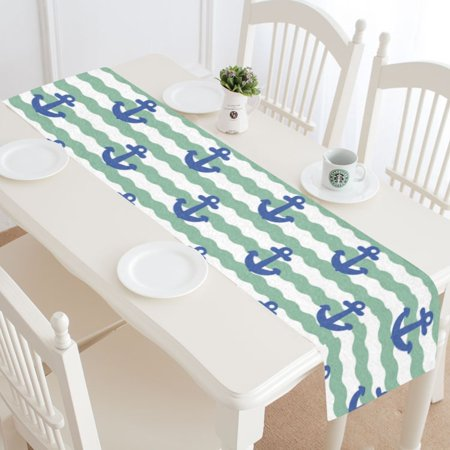 Nautical Table Decorations For Weddings (MYPOP Nautical Chevron Anchor Table Runner Home Decor 14x72 Inch,Blue Ocean Nautical Anchor Table Cloth Runner for Wedding Party Banquet)