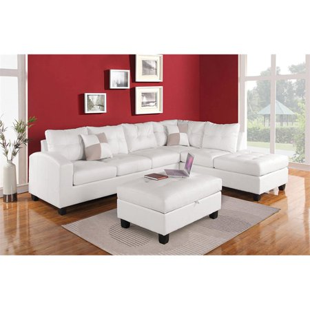 ACME Kiva Bonded Leather Sectional with Ottoman in White
