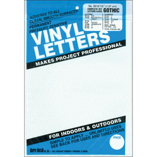 "Permanent Adhesive Vinyl Letters & Numbers 1/2""-Gothic/White"