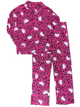 Product Image Womens Hello Kitty Cat Heart   Leopard Pajamas Cheetah Animal  Print Sleep Set LG da651fbec