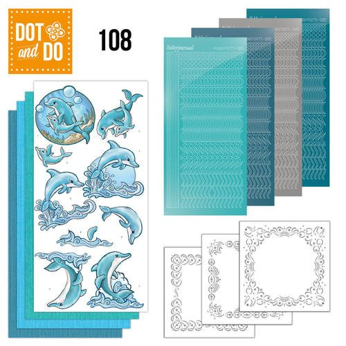Dot and Do Nr. 108 Card Kit Dolphins with HobbyDot Stickers, 3D Image & Layered Cards, Dot and Do Card Kit By Hobbydots