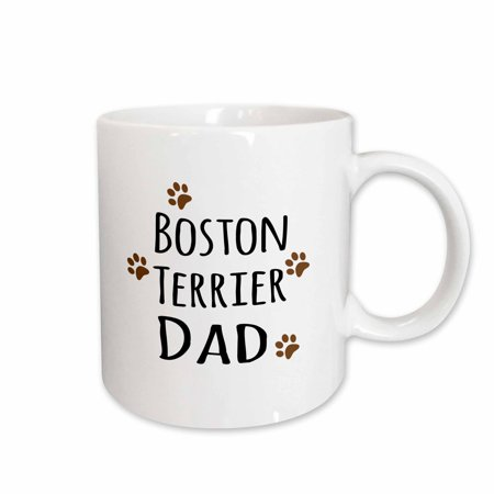 3dRose Boston Terrier Dog Dad - Doggie by breed - brown muddy paw prints love - doggy lover - pet owner - Ceramic Mug, 11-ounce