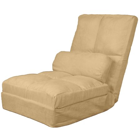 Rockstar Click Clack Convertible Futon Pillow-Top Flip Chair Child-size Sleeper Bed, Suede Khaki (Shaker Style Futon Chair)