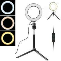 "Ring Light Kit, 64LED Bulb, 6"" Outer 3-Light Color 5500K Dimmable LED Ring Light, Light Stand, Carrying Bag for Camera,Smartphone,YouTube,Self-Portrait Shooting"