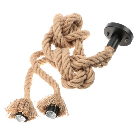 Lixada 250cm AC110V E26/E27 Double Head Vintage Hemp Rope Hanging Pendant Ceiling Light Lamp Industrial Retro Country Style Dining Hall Restaurant Bar Cafe Lighting Use - image 7 of 7