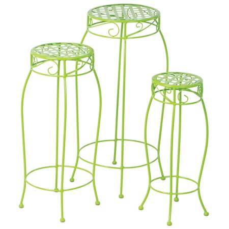 Alfresco Home Martini Plant Stands in Key Lime Green - Set of 3