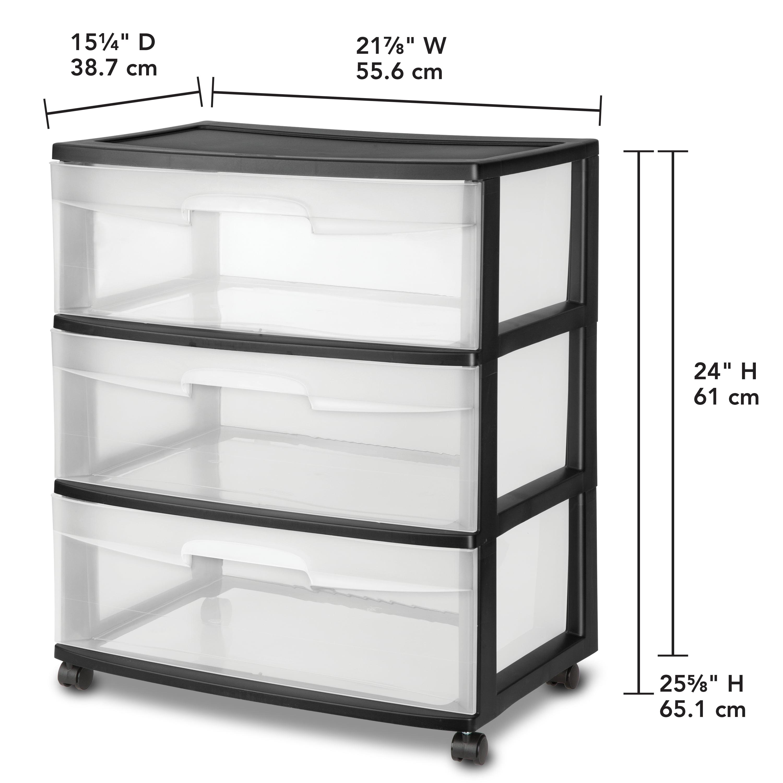 Sterilite Wide 3 Drawer Cart, Black - Walmart.com