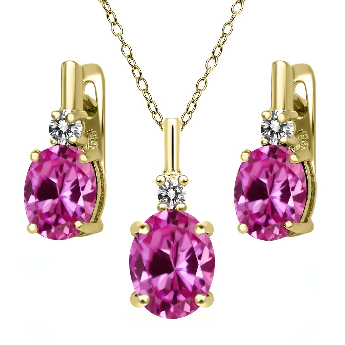 7.27 Ct Pink Created Sapphire White Diamond 18K Yellow Gold Plated Silver Pendant Earrings Set by