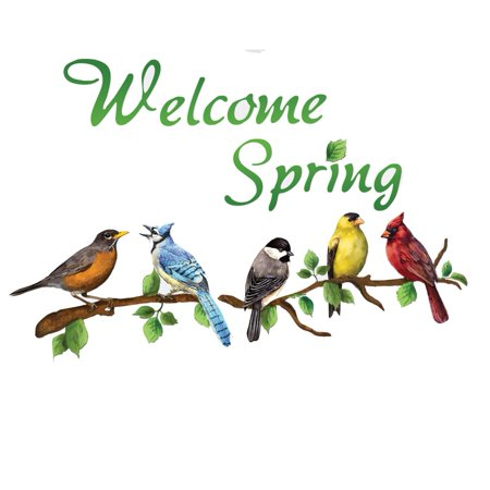 Welcome Spring Colorful Birds on Branches Garage Door Magnets, - Happy Halloween Garage Door Magnets