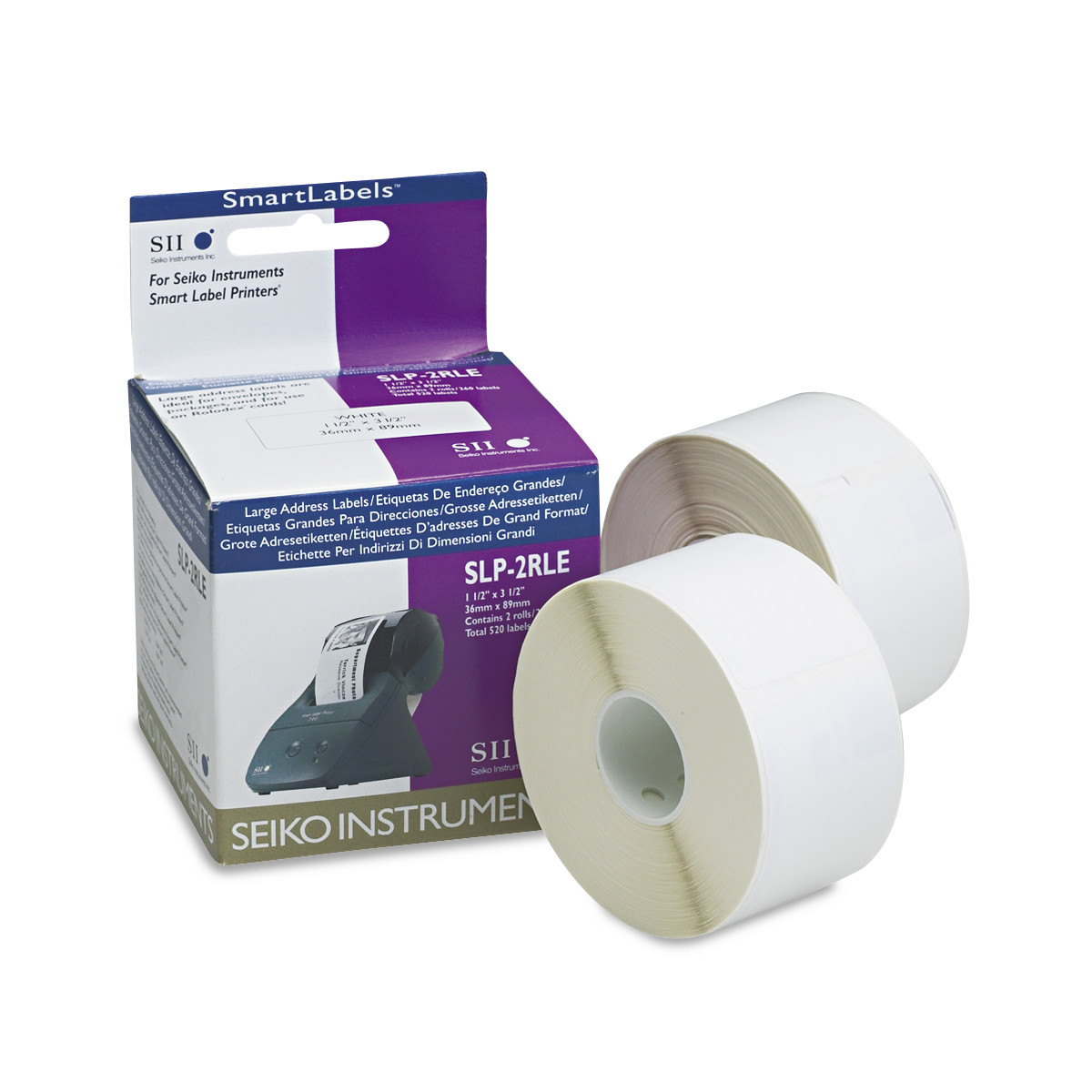 Seiko Self-Adhesive Large Address Labels, 1-1/2 x 3-1/2, White, 520/Box -SKPSLP2RLE