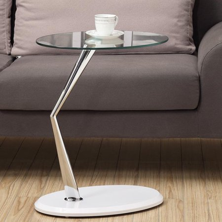 Monarch Accent Table Glossy White / Chrome With Tempered Glass