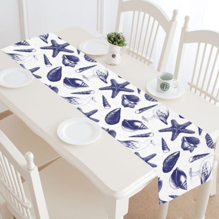 Nautical Table Decoration Ideas (MYPOP Nautical Seashell Starfish Table Runner Home Decor 14x72 Inch,Navy Seashell Starfish Table Cloth Runner for Wedding Party Banquet)