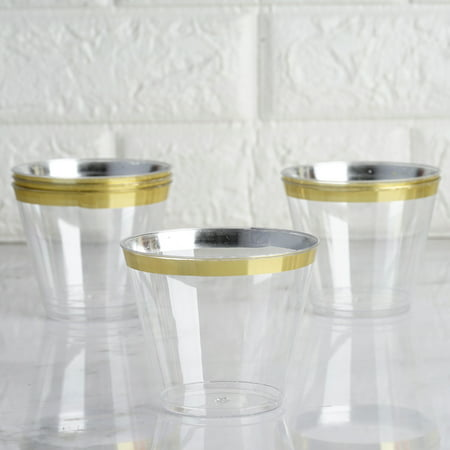 BalsaCircle Clear with Gold Rim 25 pcs 9 oz Disposable Plastic Tumbler Cups - Wedding Reception Party Buffet Catering Tableware (Custom Cups For Wedding)