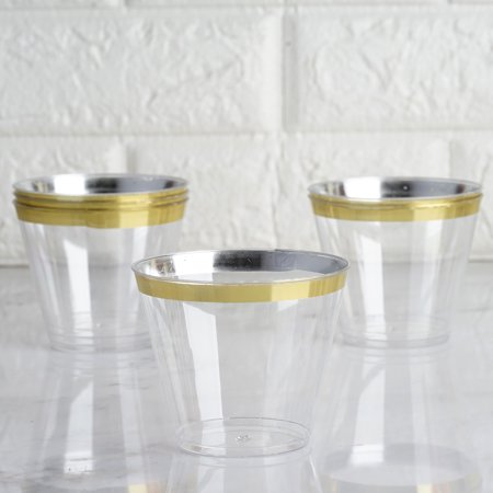 BalsaCircle Clear with Gold Rim 25 pcs 9 oz Disposable Plastic Tumbler Cups - Wedding Reception Party Buffet Catering - Personalized Disposable Cups