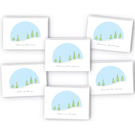 Christmas Snowglobe Greeting Cards Collection - 24 Cards & Envelopes