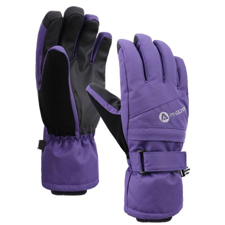 Womens Snow Gloves Thinsulate Lined Waterproof Winter Ski Gloves,Purple,S