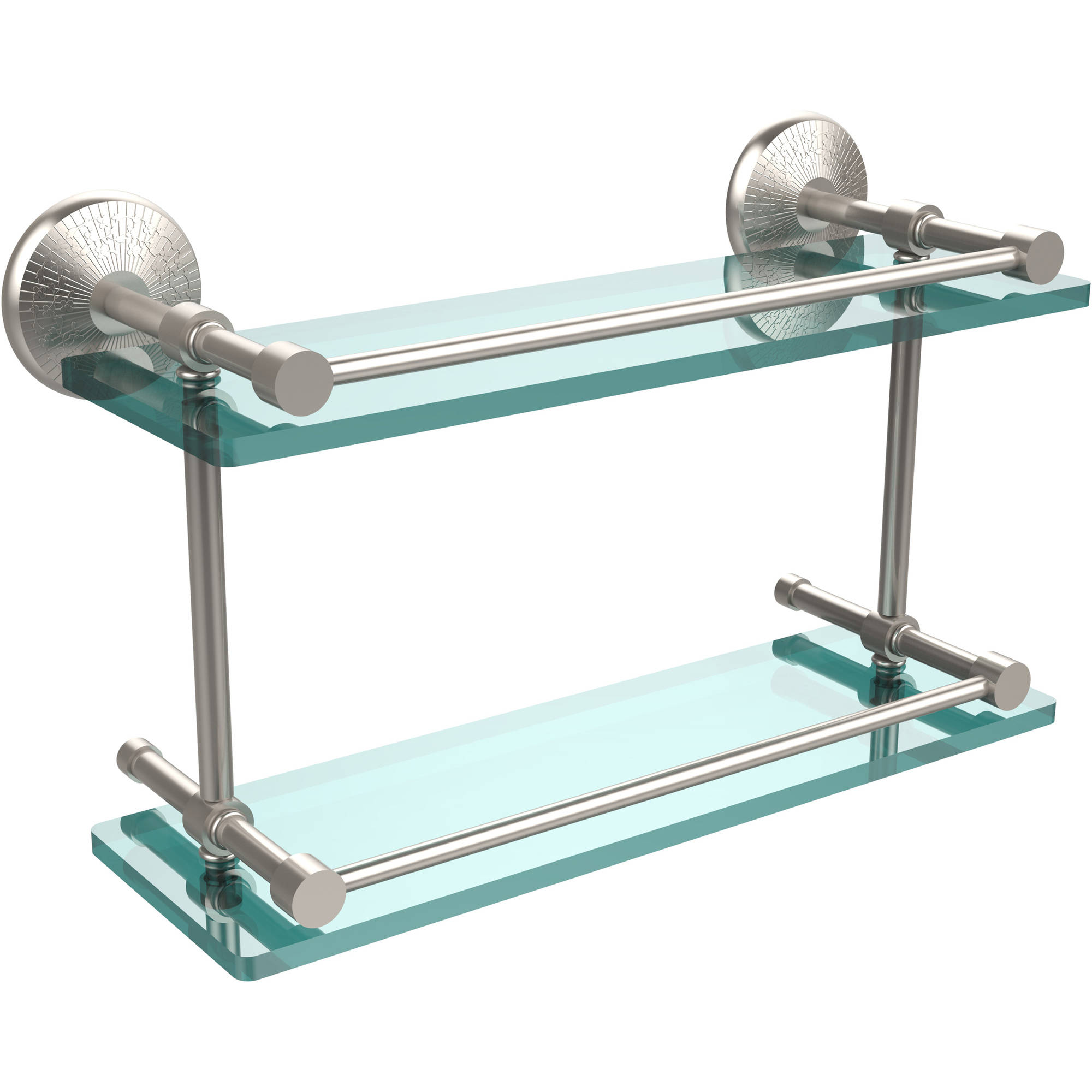 """Monte Carlo 16"""" Double Glass Shelf with Gallery Rail (Build to Order)"""