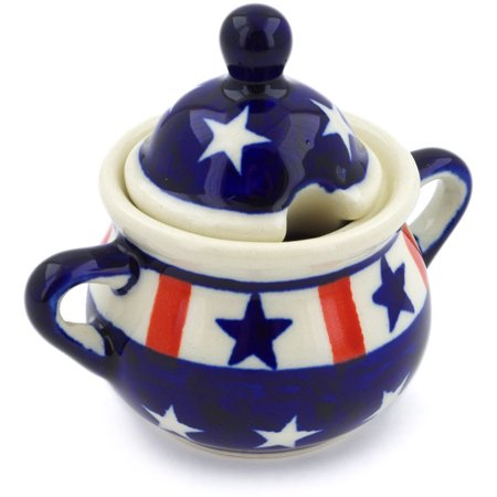 Polish Pottery Sugar Bowl (Americana Theme) Hand Painted in Boleslawiec, Poland + Certificate of Authenticity