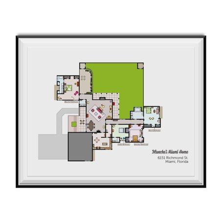 Blanche's Miami Home Floor Plan Poster Golden Girls TV Show Wall Art Decor - Miami Tv Halloween 2017