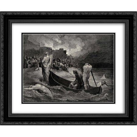Gustave Dore 2x Matted 24x20 Black Ornate Framed Art Print 'The Inferno, Canto 8, lines 110'111: I could not hear what terms he offerÆd them, But they conferrÆd not