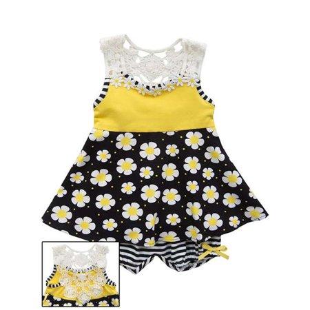 Rare Editions Little Girls Yellow Black Crochet Back Knit Dress 4 (Girls Knit Dresses)