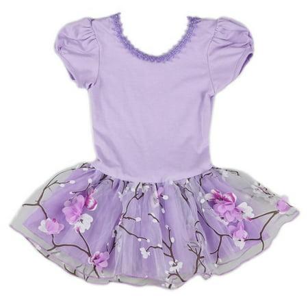 Wenchoice Girls Purple Plum Flower Print Dance Ballet Dress