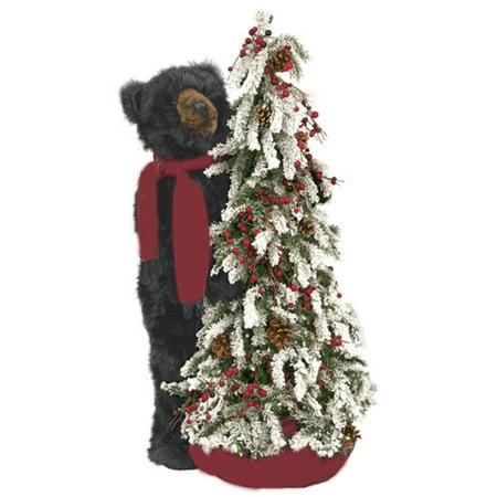40 pre lit flocked artificial christmas tree with plush black bear clear led - Bear Christmas Tree