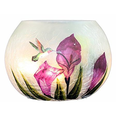 Tii Collections Hummingbirds Lighted Crackle Round Vase for $<!---->