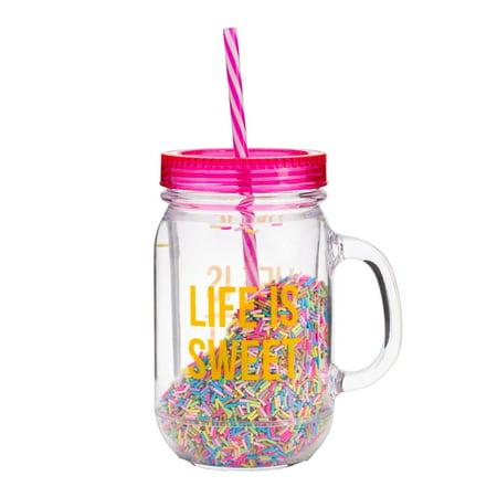 Life Is Sweet BPA Free Sprinkles Mason Jar Travel Cup, Multi - Plastic Mason Jars With Handles