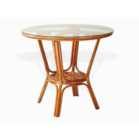 SK New Interiors Pelangi Dining Natural Rattan Wicker Handmade Round Table Glass Top, Colonial