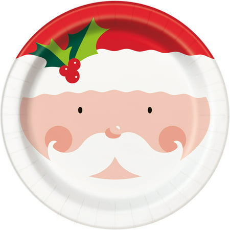 Holly Santa Christmas Paper Plates, 9 in, 8ct