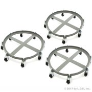 3 Drum Dolly 2000 lb 55 Gal Iron Swivel Casters Ultra Heavy Duty Steel Frame 8 Wheels by Red Hound Auto